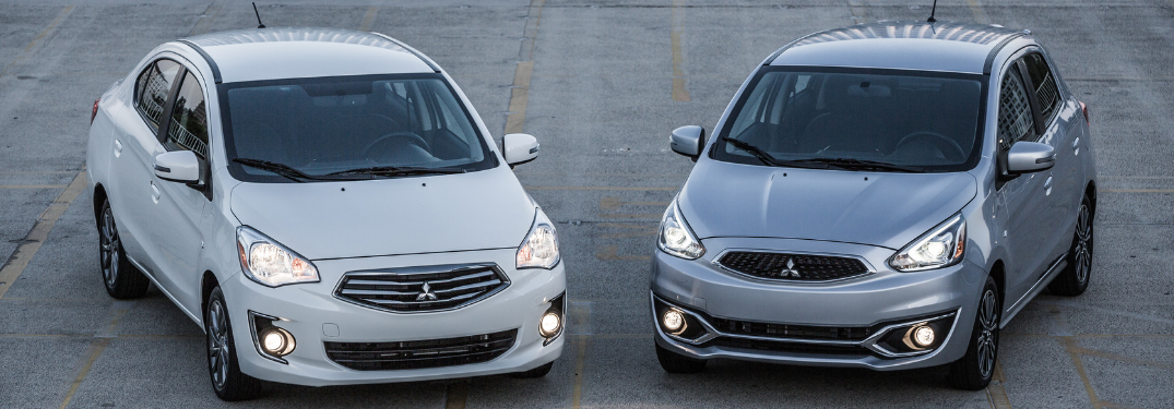 white 2019 mitsubishi mirage g4 and gray 2019 mitsubishi mirage