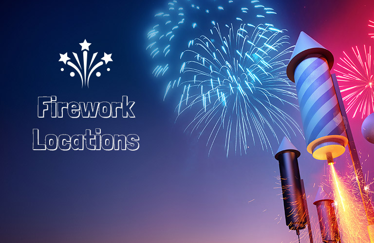graphic of fireworks with text that says fireworks locations