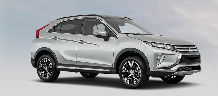 Front passenger angle of the 2020 Mitsubishi Eclipse Cross in Alloy Silver Metallic color