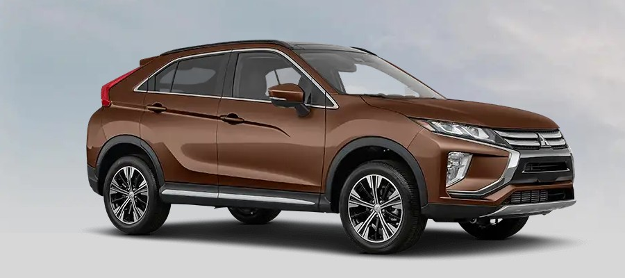 Front passenger angle of the 2020 Mitsubishi Eclipse Cross in Bronze Metallic color
