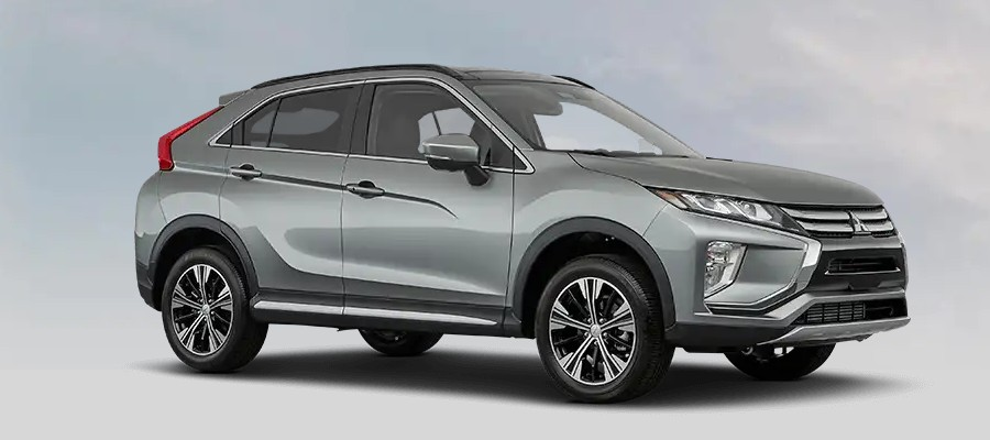 Front passenger angle of the 2020 Mitsubishi Eclipse Cross in Mercury Gray Metallic color