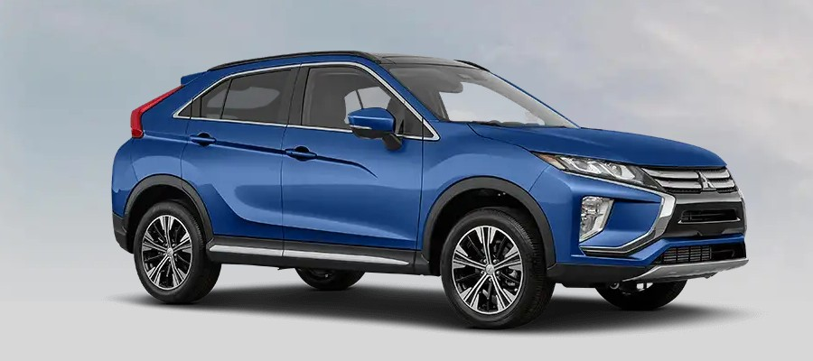 Front passenger angle of the 2020 Mitsubishi Eclipse Cross in Octane Blue Metallic color