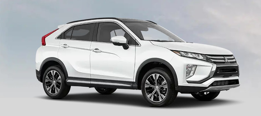 Front passenger angle of the 2020 Mitsubishi Eclipse Cross in Pearl White color
