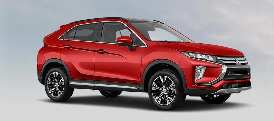 Front passenger angle of the 2020 Mitsubishi Eclipse Cross in Red Diamond color