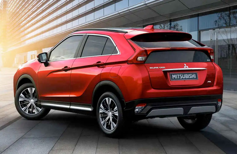 Exterior back driver side of red 2020 Mitsubishi Eclipse Cross