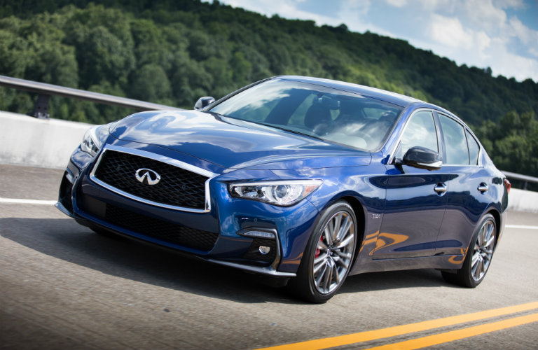 blue infiniti q50 on road