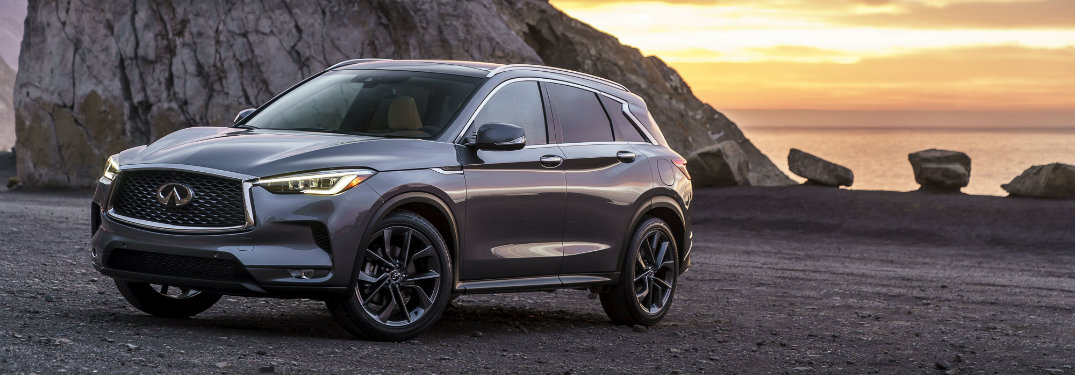 gray infiniti qx50 by water