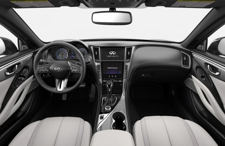 2019 INFINITI Q60 Gallery White Leather with Silver Optic Fiber Interior