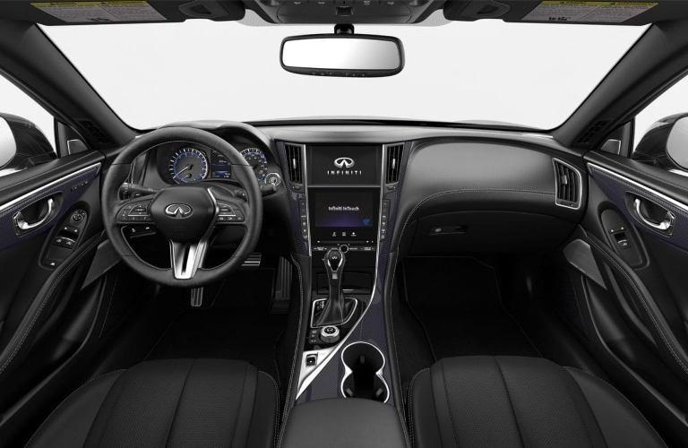 2019 INFINITI Q60 Graphite Leather with Black Carbon Interior