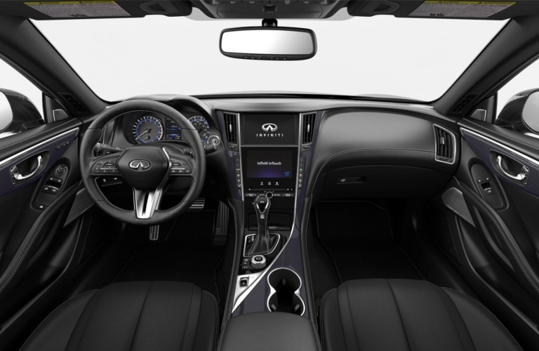 2019 INFINITI Q60 Graphite Leather with Brushed Aluminum Interior