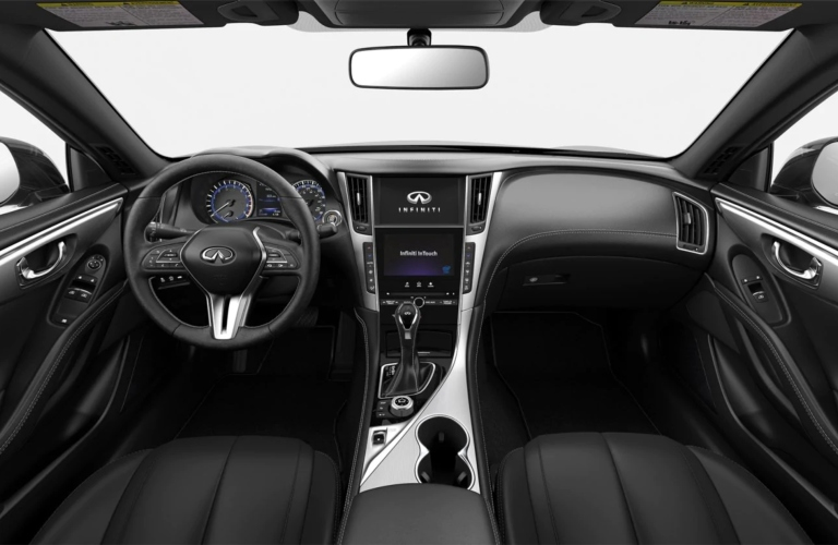 2019 INFINITI Q60 Graphite Leatherette with Brushed Aluminum Interior