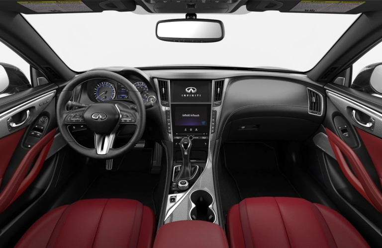 2019 INFINITI Q60 Monaco Red Leather with Silver Optic Fiber Interior