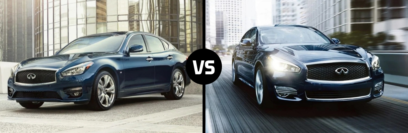 Comparison image of a blue 2019 INFINITI Q70 and a blue 2019 INFINITI Q70L