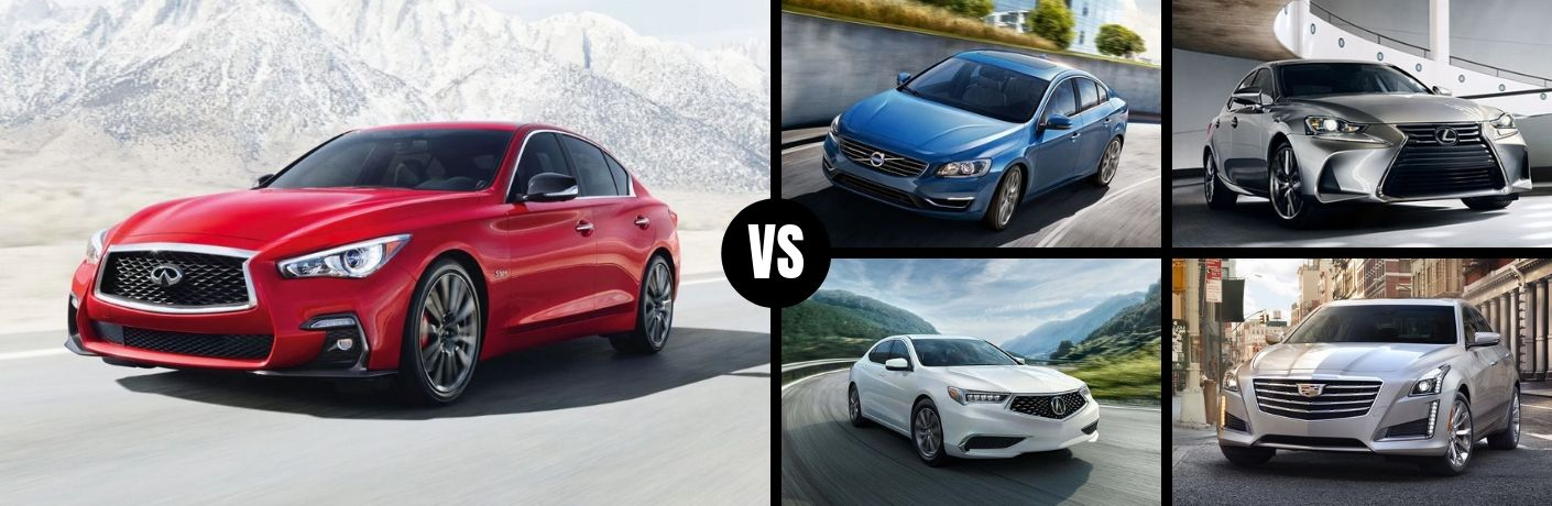 Comparison image of a red 2019 INFINITI Q50 and its competition