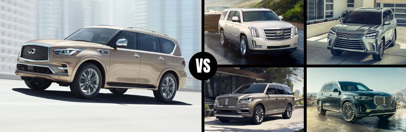 Comparison image of a tan 2019 INFINITI QX80 and its competition