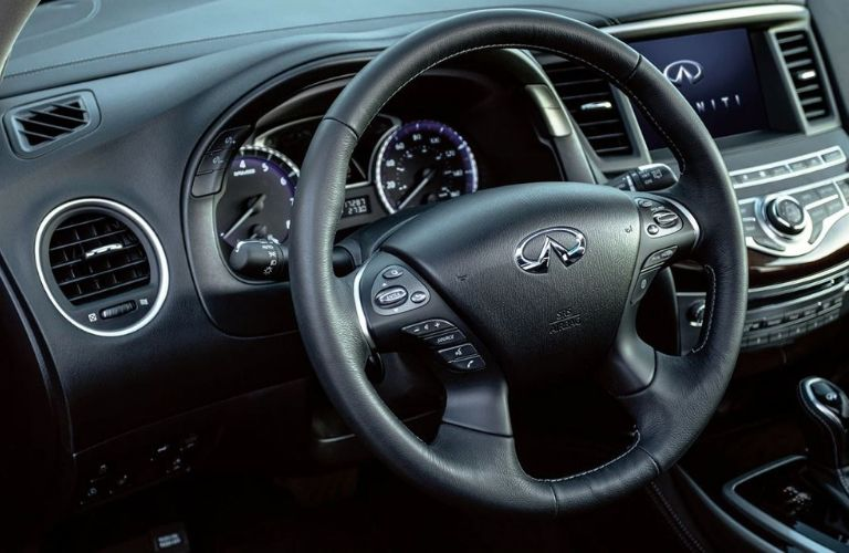 Interior view of the steering wheel inside a 2020 INFINITI QX60