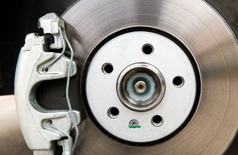 Closeup view of a vehicle's brakes