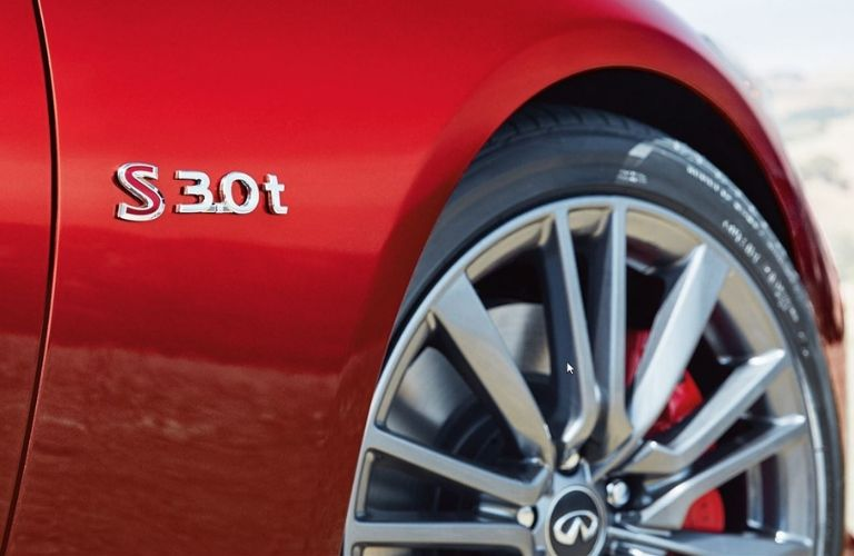 Exterior view of the wheel on a 2019 INFINITI Q50 Red Sport 400