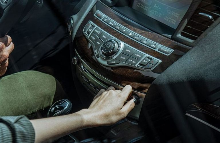 Closeup view of the infotainment system inside a 2020 INFINITI QX60