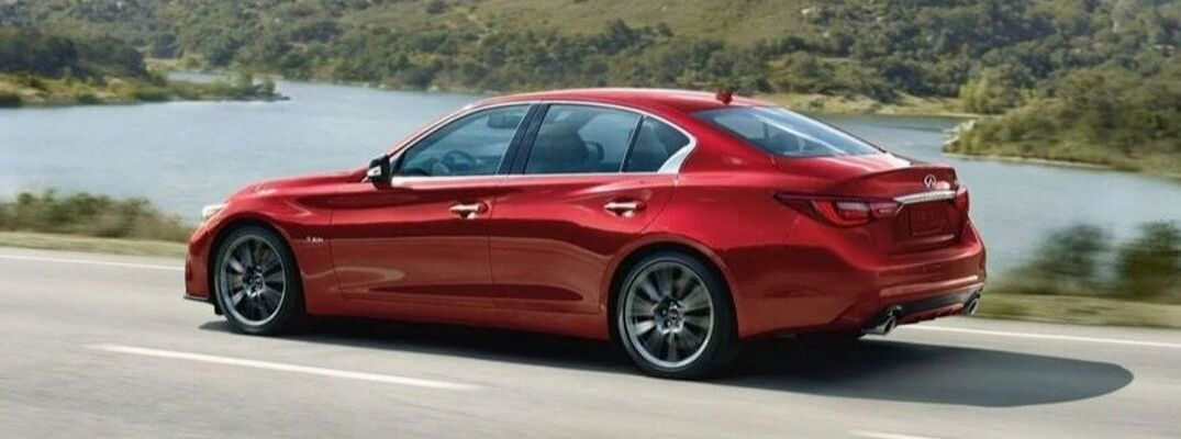 Exterior view of a red 2020 INFINITI Q50