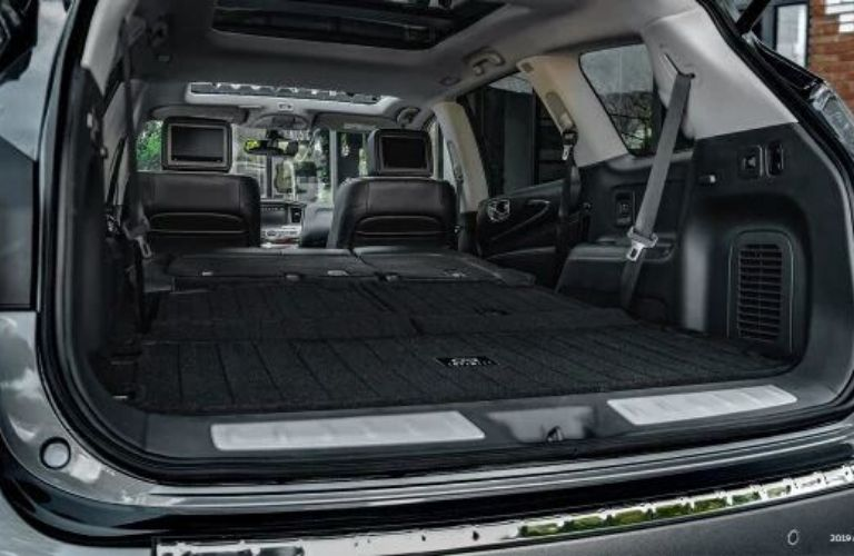 Interior view of the rear cargo area inside a 2020 INFINITI QX60