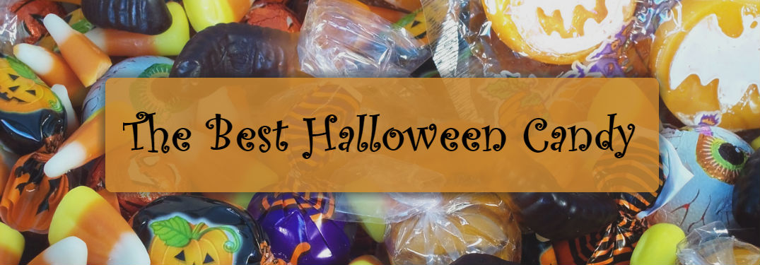 Best Halloween Candy text on candy background