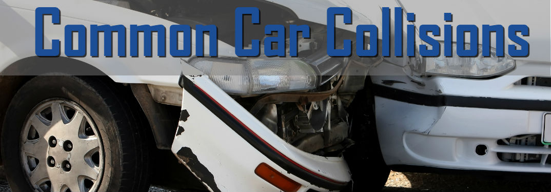 5 Common Car Accidents & Collisions with image of a front end car crash