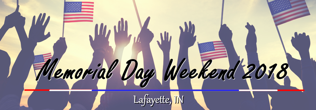 Events for Memorial Day Weekend 2018 in Lafayette, IN with silhouettes of people cheering and holding American flags