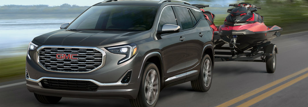2019 GMC Terrain exterior front fascia and drivers side towing trailer
