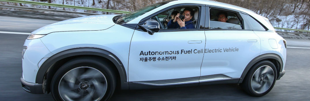 Occupants Not Paying Attention to Road Inside Self-Driving Hyundai NEXO FCEV