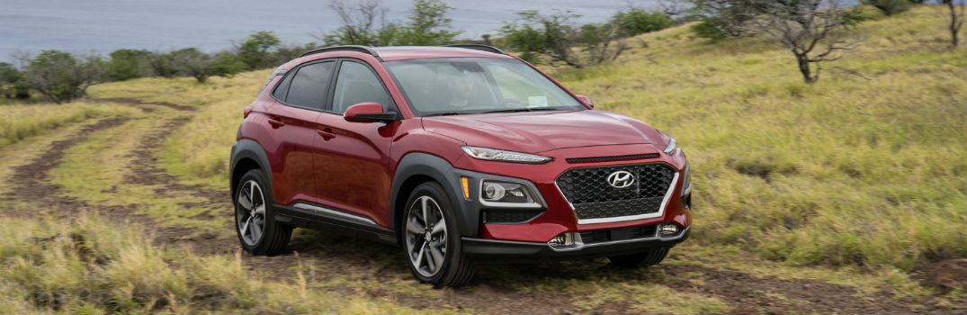 2018 Hyundai Kona Red Exterior Passenger Side Front in Field