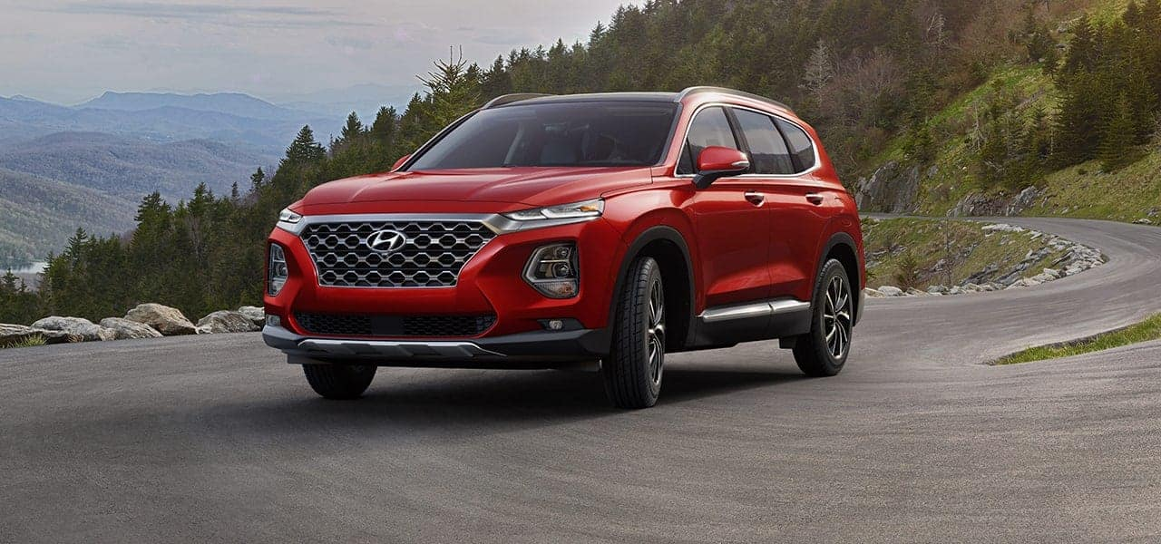2019 Hyundai Santa Fe Scarlet Red side view