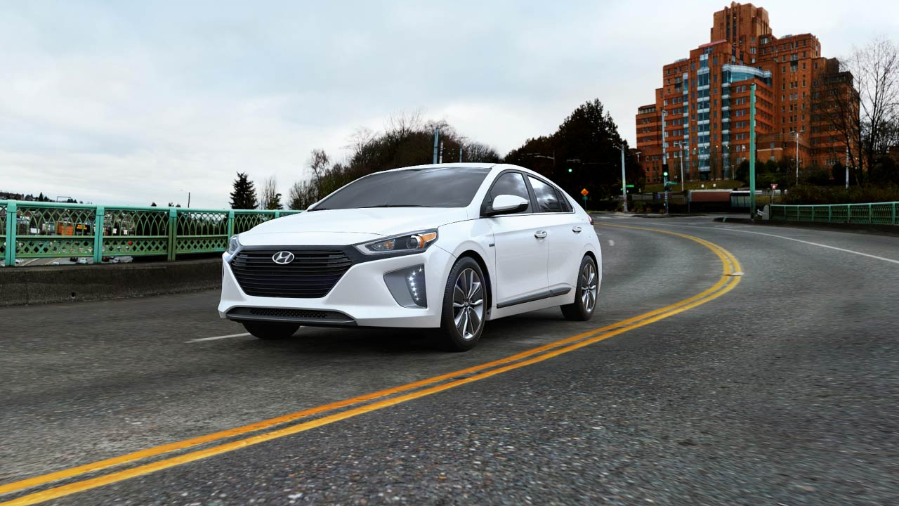 2019 Hyundai Ioniq Hybrid Limited Exterior Driver Side Front Profile in Ceramic White