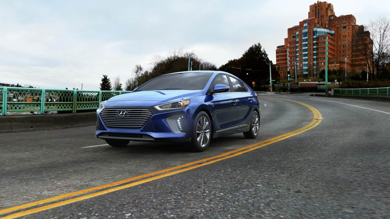2019 Hyundai Ioniq Hybrid Limited Exterior Driver Side Front Profile in Intense Blue