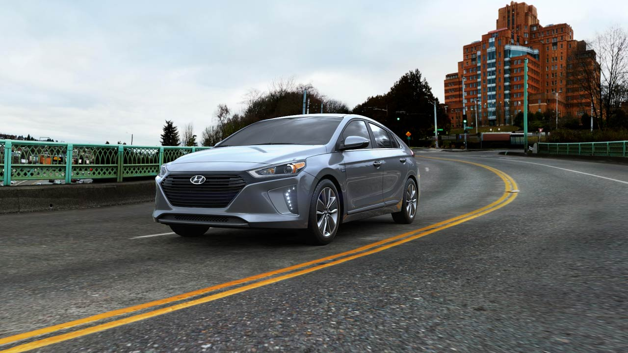 2019 Hyundai Ioniq Hybrid Limited Exterior Driver Side Front Profile in Summit Gray