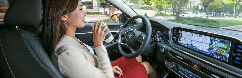 Driver Simulating Autonomous Driving in a Hyundai Vehicle