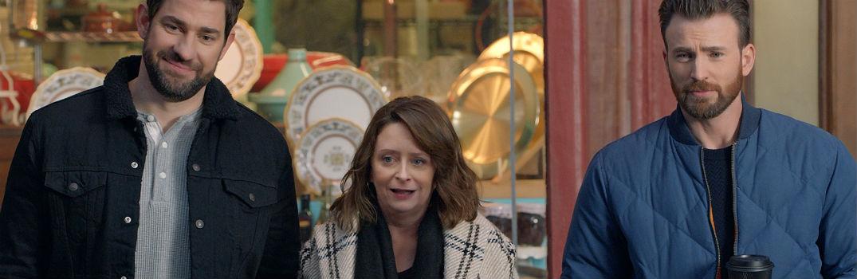 John Krasinski Rachel Dratch Chris Evans Looking at Something from Hyundai Super Bowl Commercial