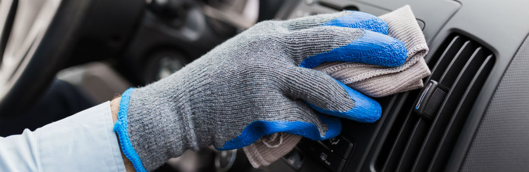 Cleaning Interior Dashboard with Microfiber Cloth