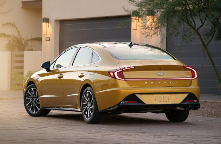 Rear view of yellow 2020 Hyundai Sonata