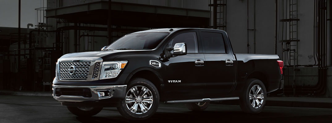 Black 2017 Nissan Titan with dark background