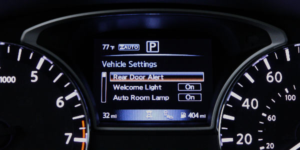 Rear Door Alert in Settings menu.