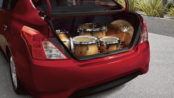 2018 Nissan Versa Cargo hold full of bongo drums