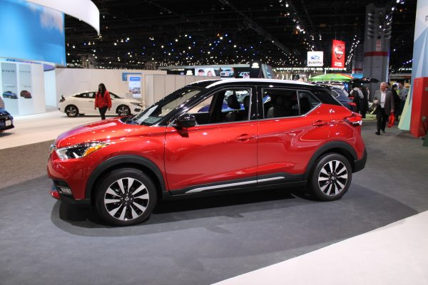 Quarter front profile of the 2018 Nissan Kicks on display at the Chicago Auto Show