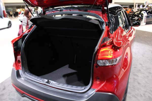 Trunk interior of the 2018 Nissan Kicks on display at the Chicago Auto Show