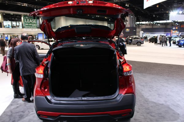 Head on view of the trunk interior of the 2018 Nissan Kicks on display at the Chicago Auto Show