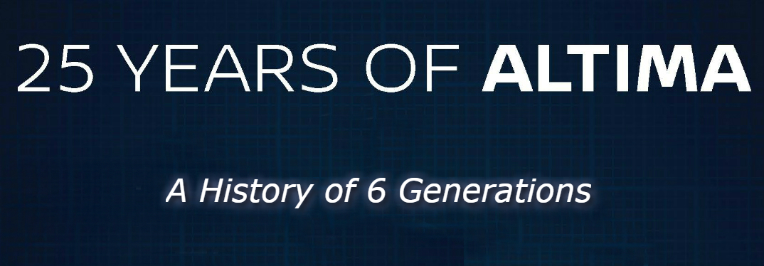 "Text that says ""25 Years of Altima A History of 6 Generations"" over a blue grid background"