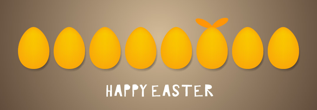 yellow eggs on brown background with text saying Happy Easter