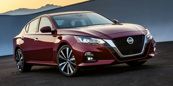 2019 Nissan Altima Front Diagonal View of Red Exterior