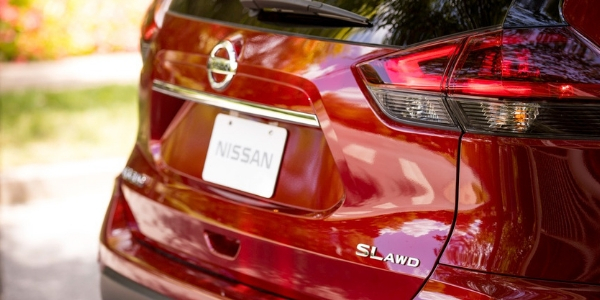 2019 Nissan Rogue Rear View of Red Exterior