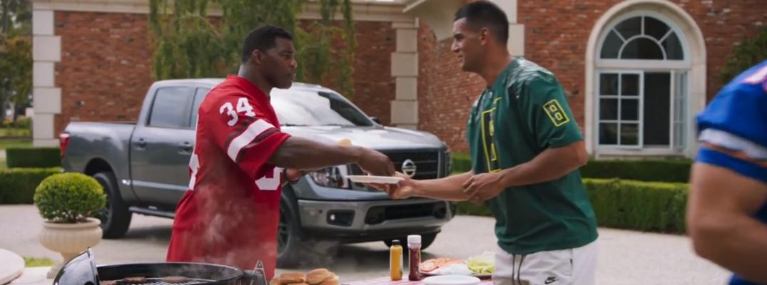 Screenshot of Nissan Heisman House BBQ commercial